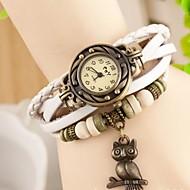 coway Eule Frauen runden Zifferblatt Lederband Quarz-Analog braceiet Uhr (Farbe sortiert)