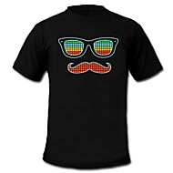 Mens Light Up LED T-shirt glasses beard pattern Sound and Music Activated Equalizer for Party Bar Raver