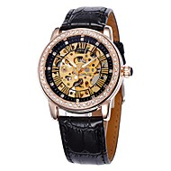 Women's Hollow Dial Gold Diamond Case Leather Band Auto-Mechanical Wrist Watch (Assorted Colors)
