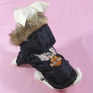 Hunde Mäntel Schwarz Hundekleidung Winter Bestickt