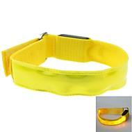 LED Light Color Lattice Arm Band Strap Armband Yellow (2xCR2032)