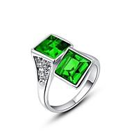 nemes és elegáns platinával bevont ragyogó zöld négyzet Ausztria kristály gyémánt gyűrű ujját