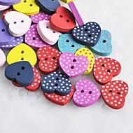 dot hjerte formet utklippsbok scraft sy DIY tre knapper (10 stk tilfeldig farge)