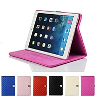 Rhombus Diamond Magnetic Buckle Leather Smart Case Cover Stand for Apple iPad 5 Air(Assorted Colors)
