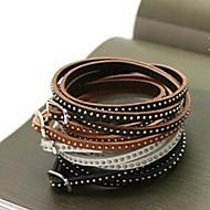 mode flerlags tynd nitte sejlgarn 90cm læder armbånd (kaffe, sort, brun, hvid) (1 stk)