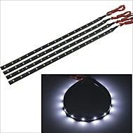 carking ™ 3528-15smd-30 centímetros carro à prova d'água lâmpada decorativa strip-preto (4pcs)