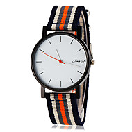 reloj blanco de la raya de marcado banda de tela sencilla pulsera de cuarzo de los hombres (colores surtidos)