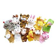 12PCS Chinese Zodiac Animal Plush Finger Puppets Kids Talk Prop