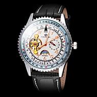 FORSINING Αντρικά μηχανικό ρολόι Ρολόι Καρπού Αυτόματο κούρδισμα Slide Rule Δέρμα Μπάντα Πολυτελές Μαύρο Λευκό Μαύρο