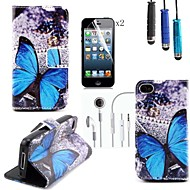 Butterfly Pattern PU Leather Cover with Card Slot with Touch Pen and Protective Film 2 Pcs and Headset for iPhone 4/4s