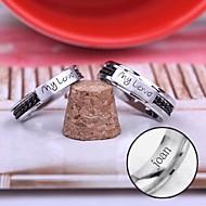 személyre szabott ajándékot pár gyűrű rozsdamentes acél vésett ékszerek
