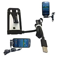 Micro Jack USB Sync Data Charge Stand Holder Cable for Samsung HTC LG Smartphone(Black)