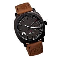 Masculino Relógio Elegante Quartz Impermeável Couro Banda Marrom marca-