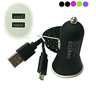 Flat Noodle Fabric Braided Micro USB Sync Cable with Mini Car Charger for Samsung HTC Sony LG Phones