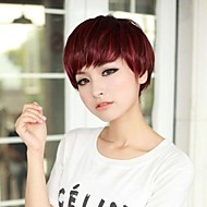 Temperament Fashion Side Bang Wine Short Straight Hair Wig