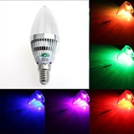Zweihnde E14 3 W 1 Dip LED 200-250 LM RGB C Dimmable/Remote-Controlled/Decorative Candle Bulbs AC 85-265 V