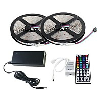 Waterproof 2×5M 300X3528 SMD RGB LED Strip Light and 44Key Remote Controller and 6A EU Power Supply (AC110-240V)