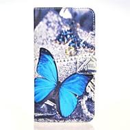 patrón butterly caso azul cuero de la PU con el soporte y la tarjeta de la ranura para g7 Huawei Ascend