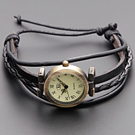 Damskie Modny Zegarek na bransoletce Japoński Kwarcowy Skóra naturalna Pasmo Postarzane Artystyczny Czarny Khaki Black Khaki