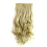 5 클립 머리 확장에 24 인치 120g 긴 내열성 합성 섬유 금발 곱슬 클립