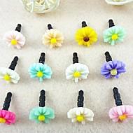 Chrysanthemum 3,5 mm plast anti-damm hörlurar för iphone / samsung och ipad (slumpmässig färg)