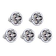3W GU10 Spot LED 3 LED Haute Puissance 300 lm Blanc Chaud AC 85-265 V 5 pièces