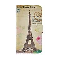 For Samsung Galaxy etui Kortholder / Med stativ / Flip / Mønster Etui Heldækkende Etui Eiffeltårnet Kunstlæder Samsung S5 Mini