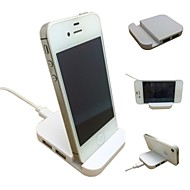 White Mobile Phone Holder Holders with USB HUB for iPhone4/4s/5/5S/5C/6 and Others