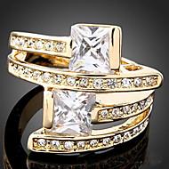 문자 반지 지르콘 모조 큐빅 도금 골드 모조 다이아몬드 합금 패션 스크린 컬러 보석류 파티 1PC
