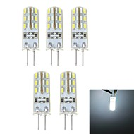 G4 1.5 W 24*5 SMD 3014 500 LM Natural White T Corn Bulbs DC 12 V