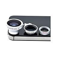 3-en-1 fisheye grand angle et macro photo magnétique kit d'objectif fixé pour l'iphone et autres (couleurs assorties)