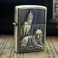 Personalized Engrave Wolf Pattern Gold Metal Oil Lighter