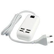 multi Ports Hjem Lader EU plugg 4 USB-porter med kabel for iPad / for Mobiltelefon / For andre Pad / For iphone(5V , 3A)