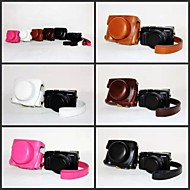 Dengpin Retro PU Leather Camera Protective Case Bag Cover with Shoulder Strap for Panasonic LUMIX LX100 DMC-LX100