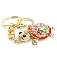 haute qualité créative cristal tortue porte-clés en métal (couleur aléatoire)