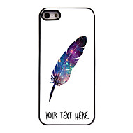 caso personalizado diseño de metal caso de plumas para el iphone 5 / 5s