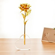cadeau du jour de la feuille d'or 24 carats de Valentine Rose-ouverte avec une base