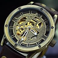 Masculino Relógio Esqueleto Automático - da corda automáticamente Gravação Oca Couro Banda Relógio de Pulso Preta / Marrom