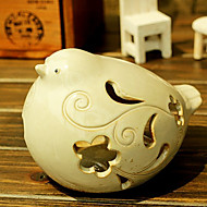 White Ceramic Hollow Bird Candle Holder