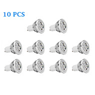 10 pcs GU10 6W 4 High Power LED 330 LM Warm White / Cool White LED Spotlight AC 85-265 V