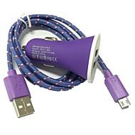 1m 3,3 pi 2 ports chargeur de voiture USB et câble micro USB pour samsung galaxy s3 s4 note 2 i9500 (couleurs assorties)