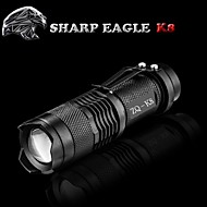 LED-Ficklampor LED Läge 500LM Lumen Vattentät / Laddningsbar / Stöttålig / Greppvänlig / Strike Bezel / Klämma / Liten storlek / Ficka