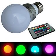 jiawen® E27는 3w RGB 16 색 크리스탈 원격 컨트롤러와 LED 전구 (AC 100-220v)