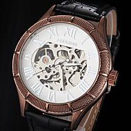 FORSINING 男性 スケルトン腕時計 機械式時計 透かし加工 自動巻き レザー バンド ラグジュアリー ブラック ブラウン