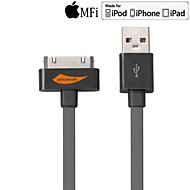 mfi Yellow 30-Pin-auf-USB-Kabel Synchronisationsdaten flache graue Kabel für iphone Aufladung 4 / 4s 100cm