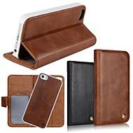 Côr Sólida/Design Especial/Outro/Couro - iPhone 5/iPhone 5S - Capa com Suporte/Cases Totais/Outro/Caso Wallet (Preto/Castanho ,Pele PU/Pele