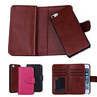 cor sólida de couro genuíno casos carteira com 6 slots de cartão para iPhone 5 5s / iphone mais (cores sortidas)
