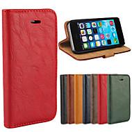 Pour Coque iPhone 5 Portefeuille Porte Carte Avec Support Clapet Coque Coque Intégrale Coque Couleur Pleine Dur Vrai Cuir pouriPhone