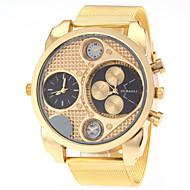 JUBAOLI 男性 軍用腕時計 ファッションウォッチ 2タイムゾーン クォーツ ステンレス バンド