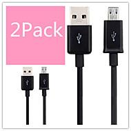 2pack laddning / datasynkroniserings micro usb 2.0 abs kablar för samsung mobiltelefon och andra mobiltelefon (blandade färger)